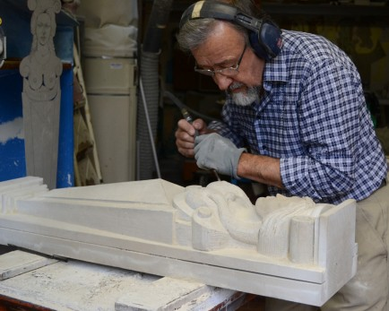 Paolo Gambioli works on a sculpture at the Gambioli home in new Cagli.