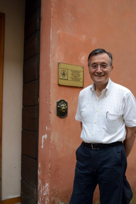 Giuseppe Aguzzi outside his studio.