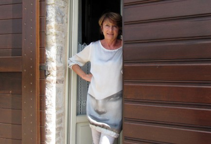 Alfonza Costantini stands in front of her home outside Cagli, Italy.